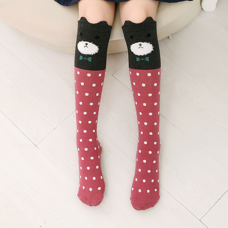Baby Toddler Girls Knee-high Dots Bear Cartoon Animal Tube Stocking
