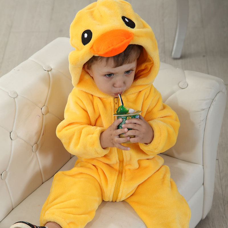 Baby Yellow Duck Onesie Kigurumi Pajamas Kids Animal Costumes for Unisex Baby