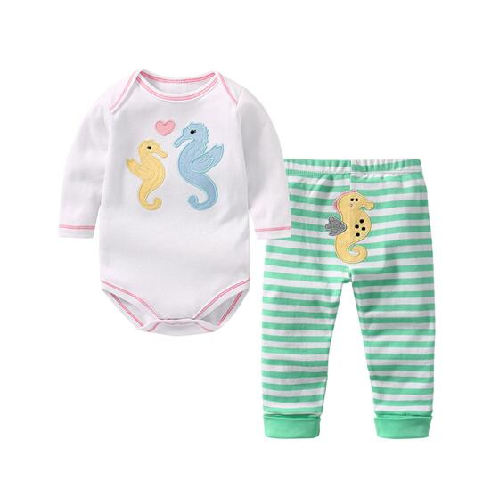 Baby Girl Print Sea Horse Two Pieces Long Sleeve Cotton Bodysuit and Pant