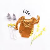 Baby Girl Pure Colors Bowknot Velvet Long Sleeve Bodysuit