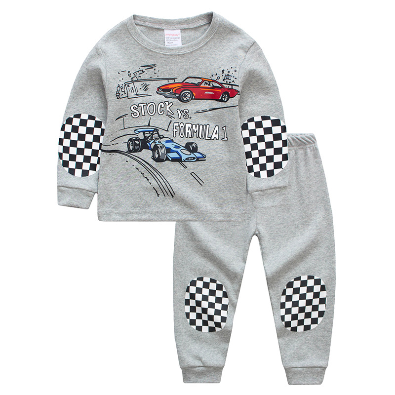 Toddler Boy 2 Pieces Pajamas Sleepwear Grey Racing Cars Long Sleeve Shirt & Legging Sets
