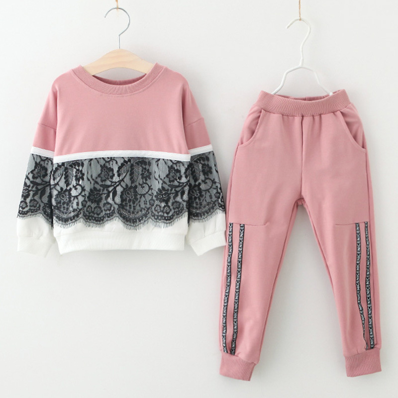 Toddler Girl 2 Pieces Lace Stitchin Long Sleeve Sweatshirt and Pants Clothes Set Outfit