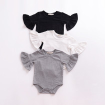 Baby Girl Pure Color Cotton Ruffles Long Sleeve Bodysuit