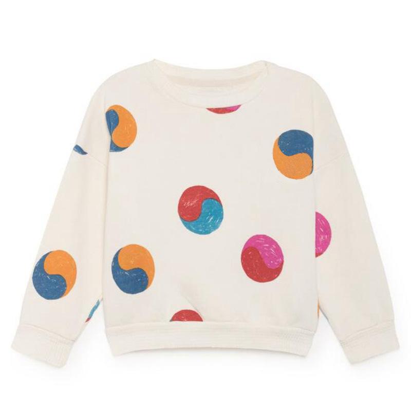 Toddler Girl White Dots Long Sleeve Sweatshirt