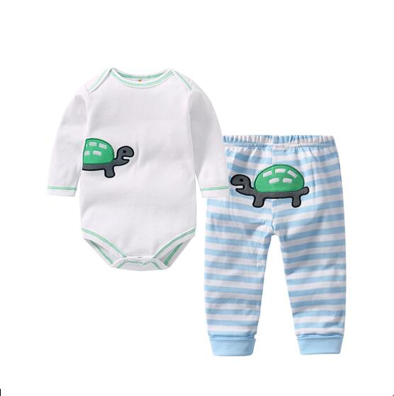 Baby Boy Print Turtle Two Pieces Long Sleeve Cotton Bodysuit and Pant