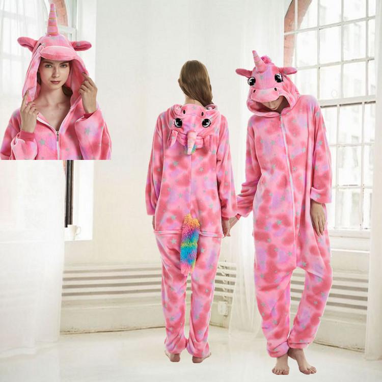 Unisex Adult Pajamas Pink Silver Stars Unicorn Animal Cosplay Costume Pajamas