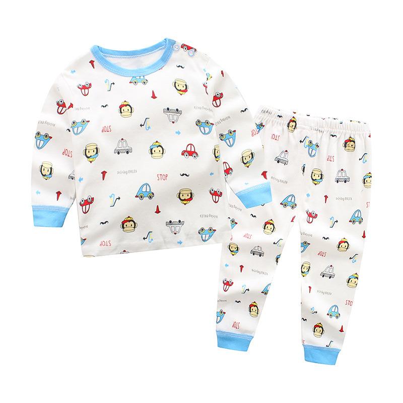 Toddler Boy 2 Pieces Pajamas Sleepwear Monkey and Cars Long Sleeve Shirt & Legging Sets