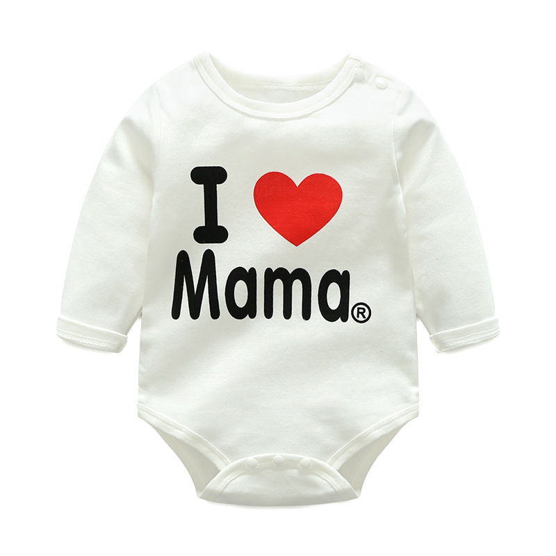 Baby Girl White Slogan Heart Cotton Long Sleeve Bodysuit