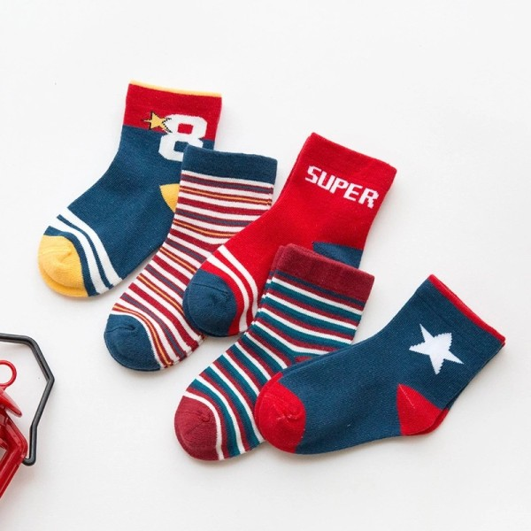 5 Pairs Baby Toddler Girls and Boy Print Slogan Socks