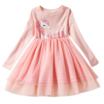 Toddler Girl Print Unicorn Long Sleeves Casual A-line Dresses