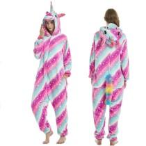 Unisex Adult Pajamas 3 Colorful Stripes Stars Unicorn Animal Cosplay Costume Pajamas