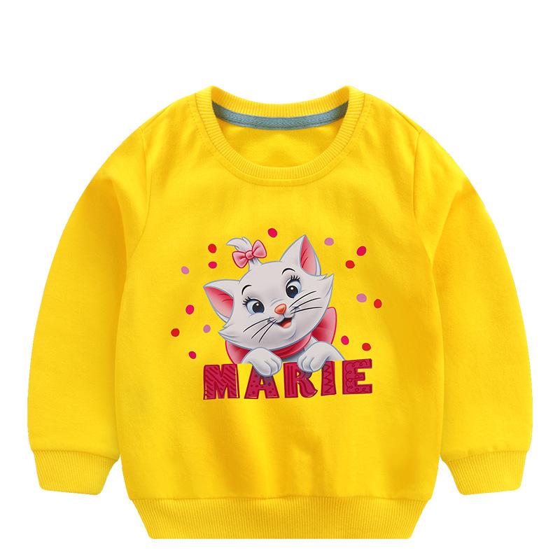 Toddler Girl Print and Slogan Cute Cat Long Sleeve Sweatshirt