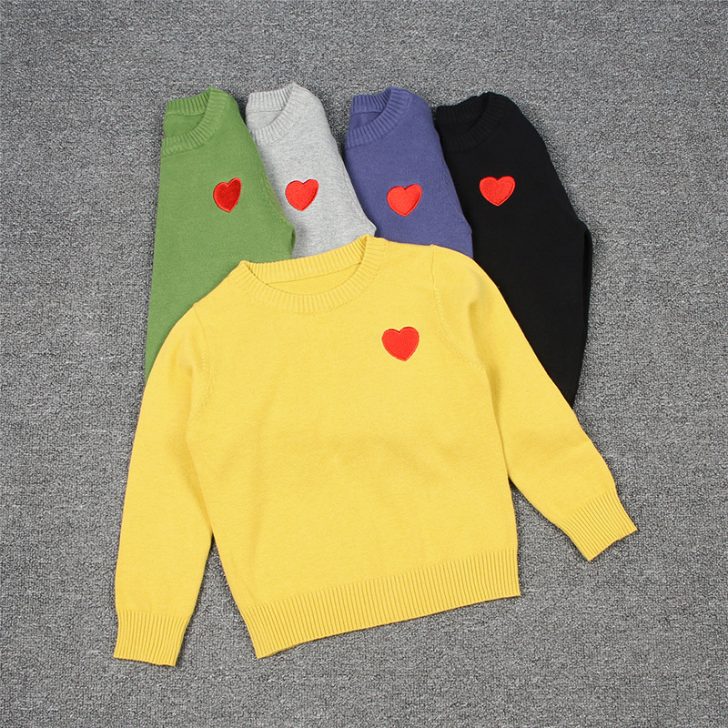 Toddler Girl Knit Pullover Red Heart Pattern Sweater
