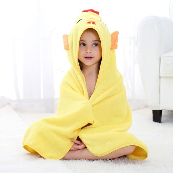 Baby Yellow Chick Face Hooded Bathrobe Towel Bathrobe Cloak Size 28 *55