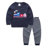Toddler Boy 2 Pieces Pajamas Sleepwear Train Long Sleeve Shirt & Legging Sets