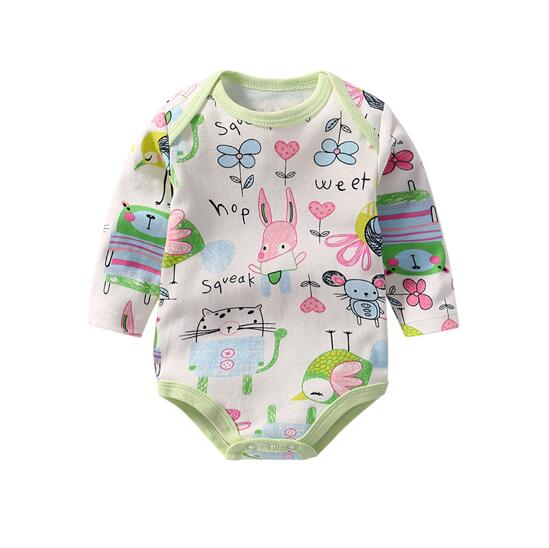 Baby Girl Print Fox Long Sleeve Cotton Bodysuit
