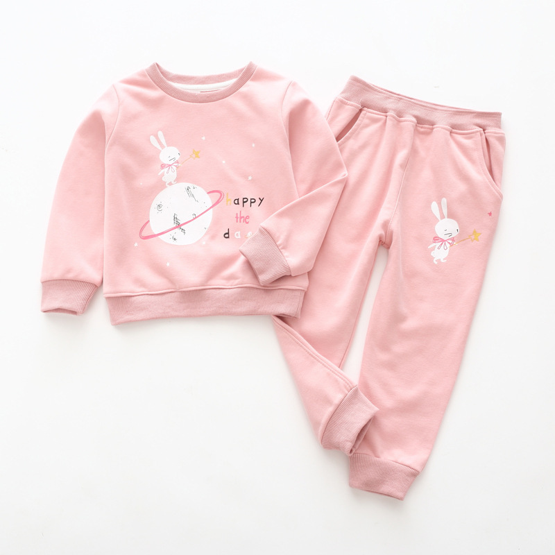 Toddler Girl 2 Pieces Print Rabbit Long Sleeve Sweatshirt and Jogger Pants Clothes Set Outfit