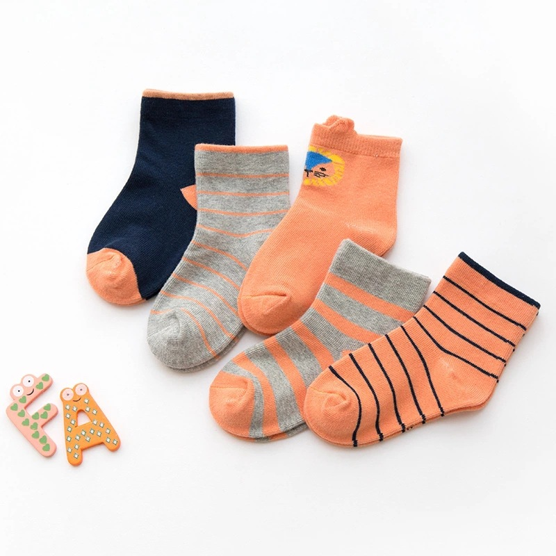 5 Pairs Baby Toddler Girls and Boy Orange Print Stripes Socks