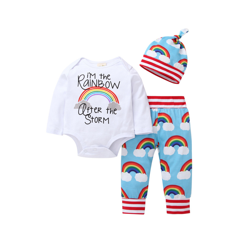 3PCS Baby Girl Print Rainbow Long Sleeve Romper Pants Bodysuit Hat Clothes Outfits Set