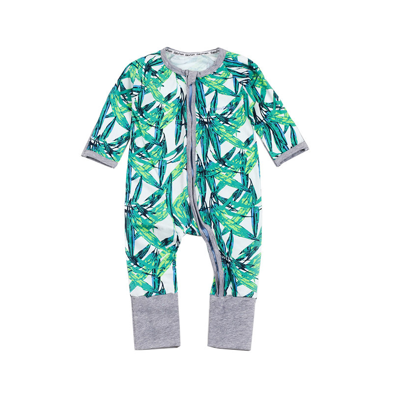 Baby Girl Zip-Up Print Green Leaves Cotton Long Sleeve One piece