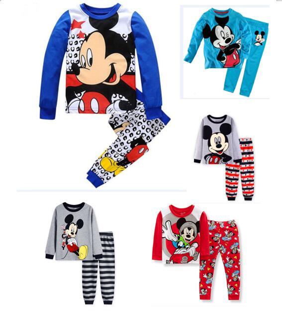 Toddler Boy 2 Pieces Pajamas Sleepwear Mickey Long Sleeve Shirt & Leggings Set