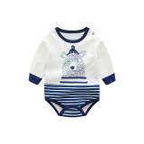 Baby Boy Stripes Elephant Long Sleeve Cotton Bodysuit