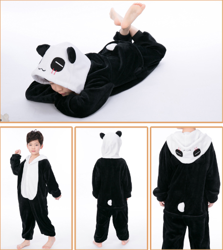 Kids Panda Onesie Kigurumi Pajamas Kids Animal Costumes for Unisex Children