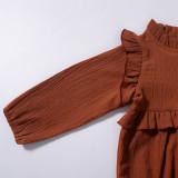 Baby Girl Ruffles Collar Cotton Long Sleeve Bodysuit