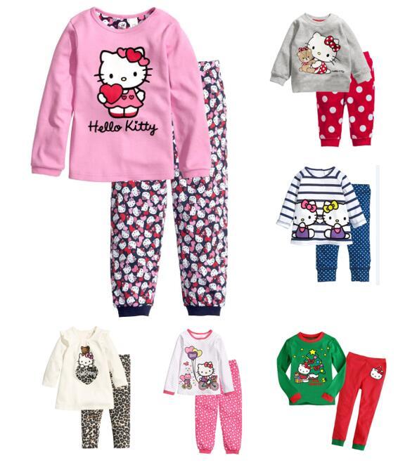 Toddler Girl 2 Pieces Pajamas Sleepwear Hello Kitty Long Sleeve Shirt & Leggings Set