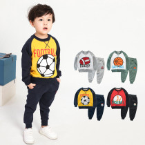 Grey Print Rugby and Slogan Two Pieces Outfits Long Sleeve Sweatershirt and Jogger Pant