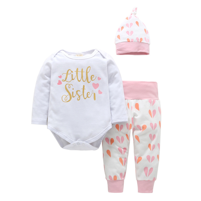 3PCS Baby Girl Pink Hearts Long Sleeve Romper Pants Bodysuit Hat Clothes Outfits Set