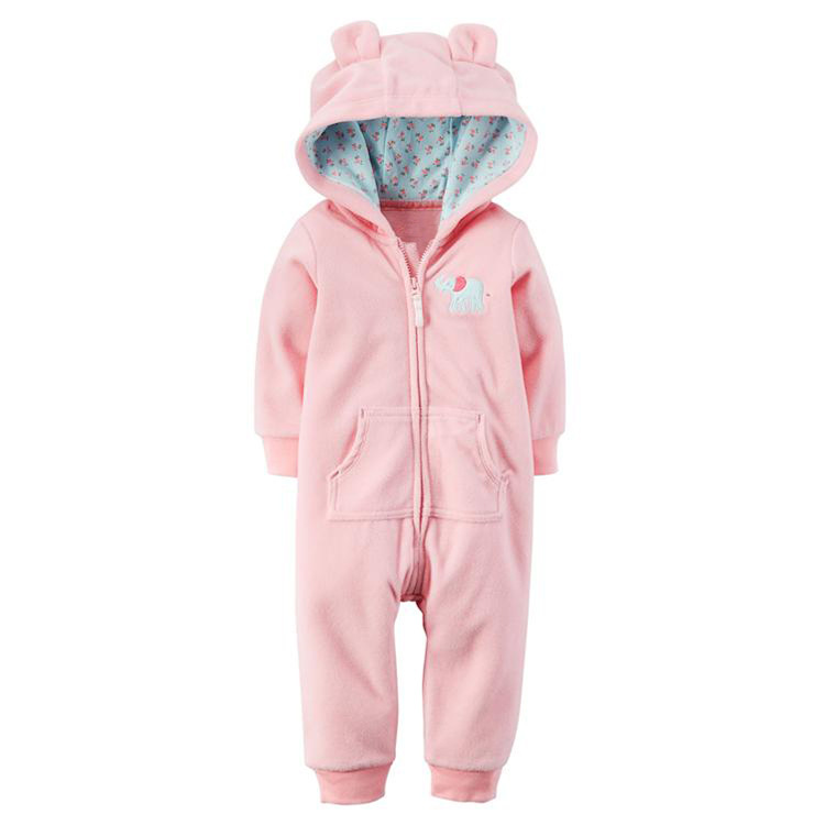 Baby Girl Zip-Up Pink Elephant Polar Fleece Long Sleeve One piece