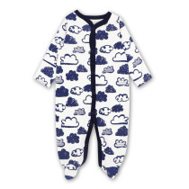 Baby Boy Print Navy Clouds Pajamas Sleepwear Cotton Infant One-piece(0-1Year)