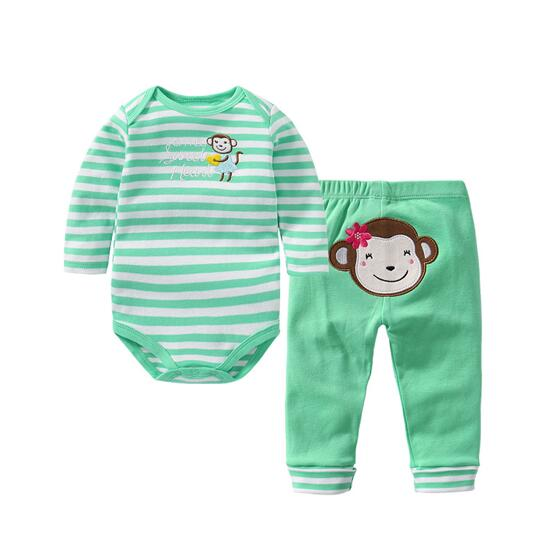 Baby Girl Print Monkey Two Pieces Long Sleeve Cotton Bodysuit and Pant