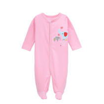 Baby Girl Pink Elephants Footed Pajamas Sleepwear Cotton Infant One-piece(0-1Year)