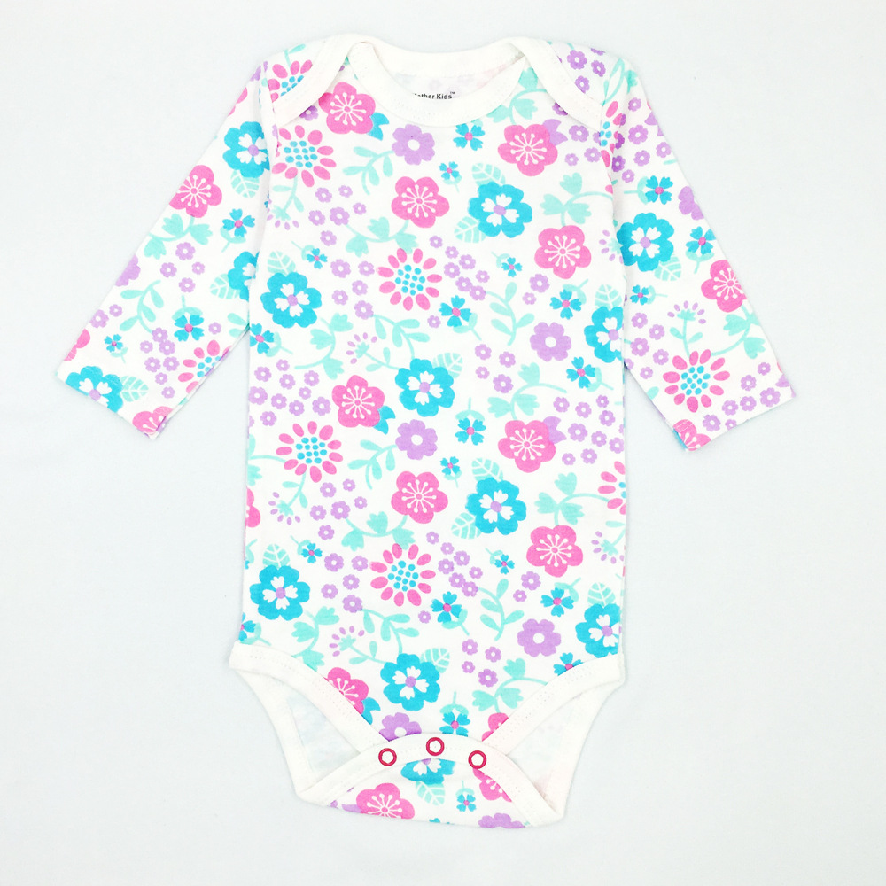 Baby Girl Purple Flowers Long Sleeve Cotton Bodysuit