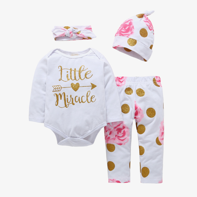 4PCS Baby Girl Print Flower Long Sleeve Romper Pants Bodysuit Hat Headband Clothes Outfits Set