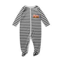 Baby Boy Grey Stripes Footed Pajamas Sleepwear Cotton Infant One-piece(0-1Year)