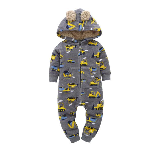 Baby Boy Zip-Up Print Yellow Trucks Polar Fleece Long Sleeve One piece