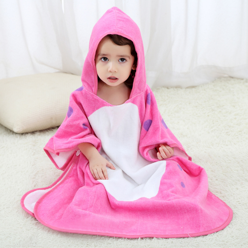 Baby Dinosaur Face Hooded Bathrobe Towel Bathrobe Cloak Size 28 *55