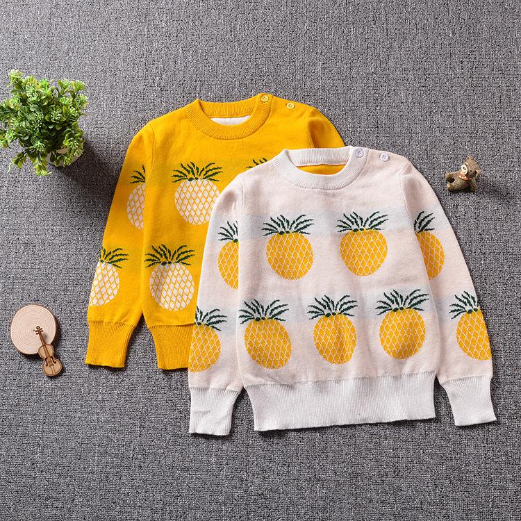 Toddler Girl Knit Pullover Fruit Pineapples Pattern Sweater