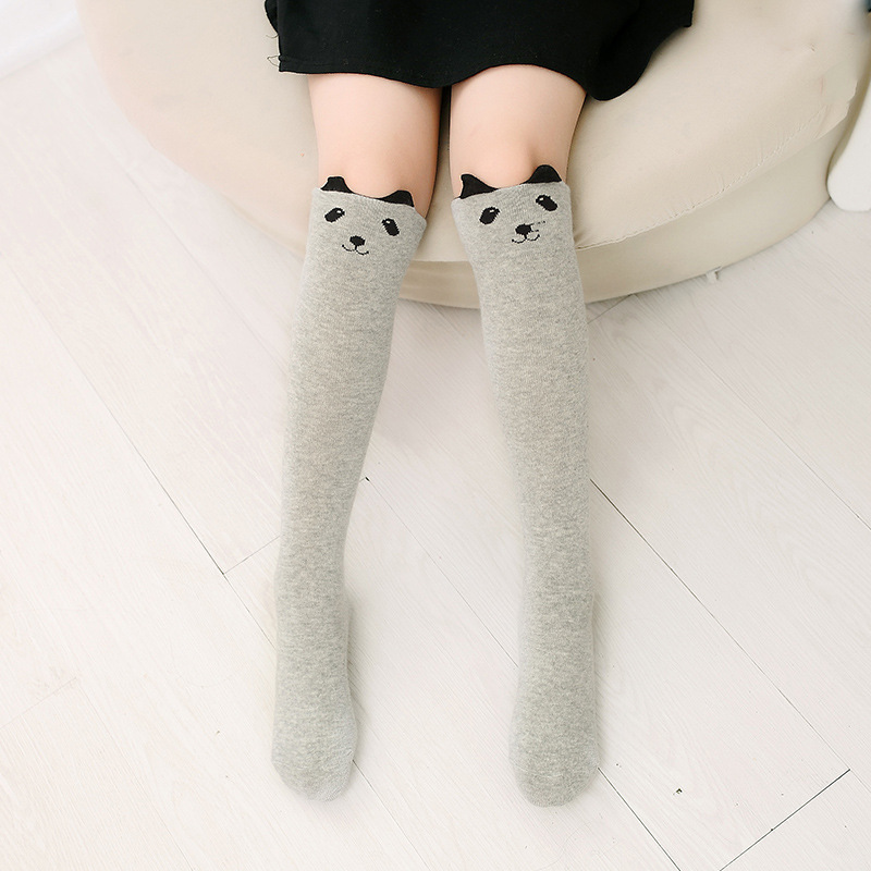 Baby Toddler Girls Knee-high Grey Cat Cartoon Animal Tube Stocking