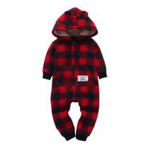 Baby Boy Zip-Up Red Plaids Polar Fleece Long Sleeve One piece