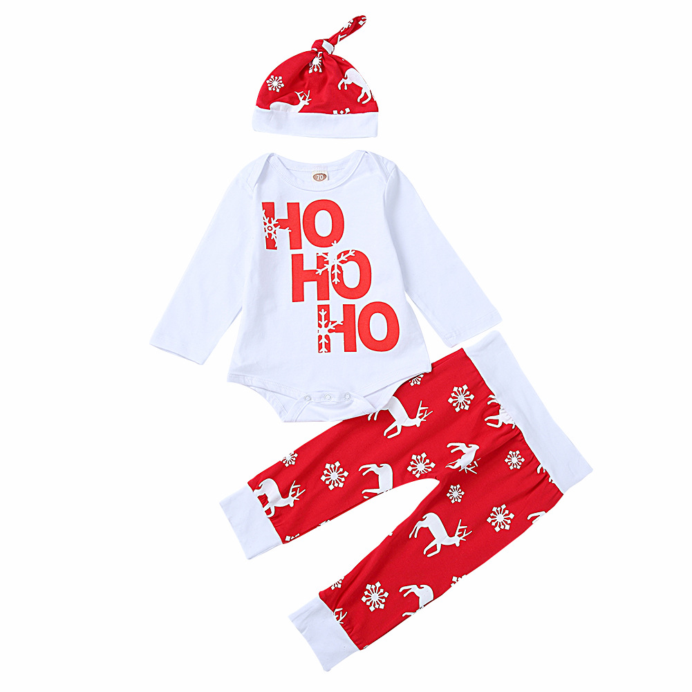 3PCS Baby Girl Print Slogan and Deers Long Sleeve Romper Pants Bodysuit Hat Clothes Outfits Set