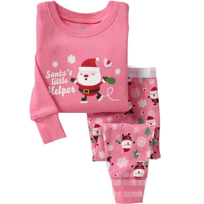 Toddler Girl 2 Pieces Pajamas Sleepwear Christmas Santa Claus Long Sleeve Shirt & Legging Sets