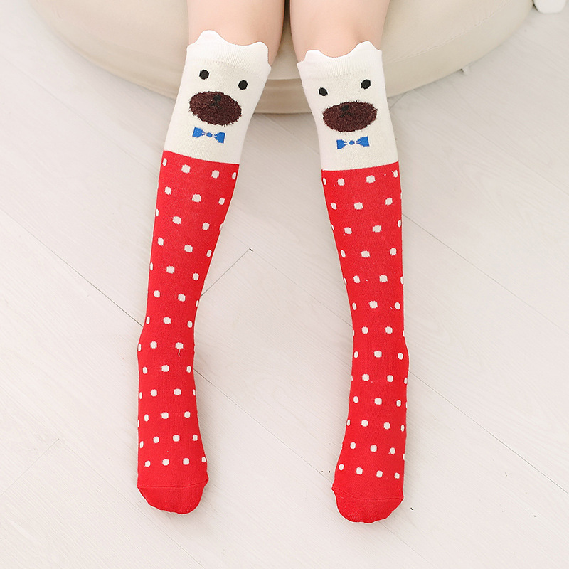 Baby Toddler Girls Knee-high Red Dots Cartoon Animal Tube Stocking