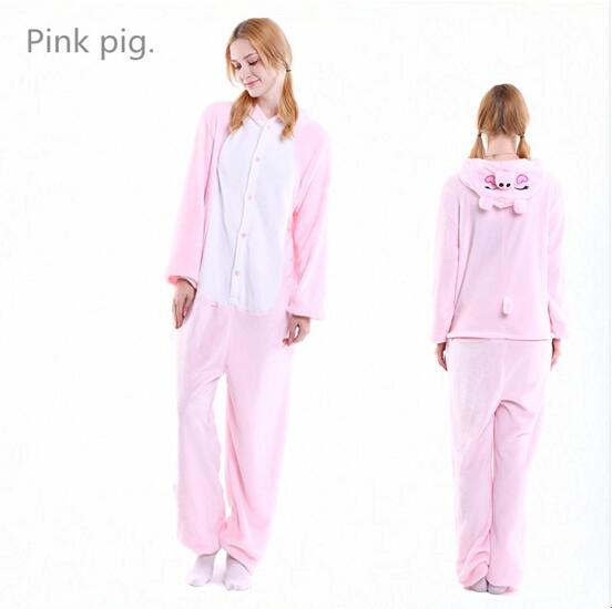 Unisex Adult Pajamas Pink Pig Animal Cosplay Costume Pajamas