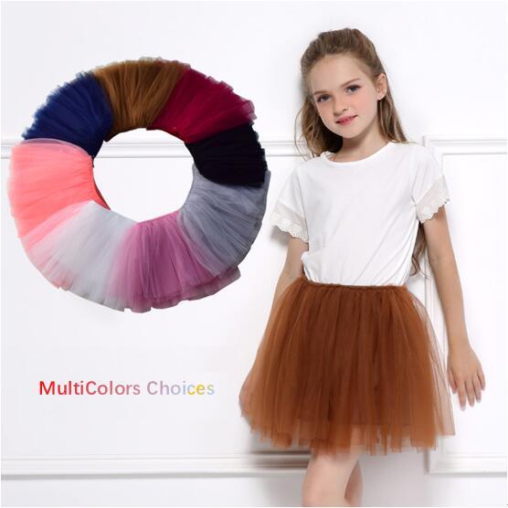 Toddler Girl 4-layers Tulle Tutu Skirt Princess Fluffy Soft Chiffon Pettiskirt