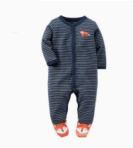 Baby Boy Snap-Up Navy Stripes Fox Footed Cotton Long Sleeve One piece (0-1Years)