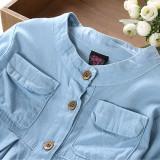 Toddler Girl Blue Long Sleeve Denim Blouse